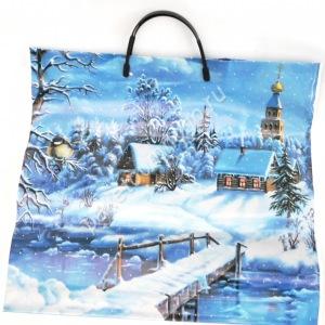 Пакет с пластиковыми ручками Зима в деревне